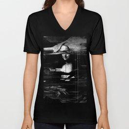 Mona Lisa Glitch Unisex V-Neck