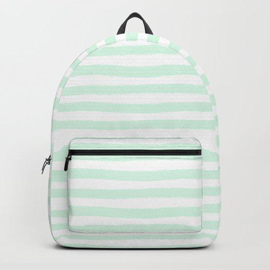 Mint Aqua Hand Drawn Horizontal Stripes Backpack