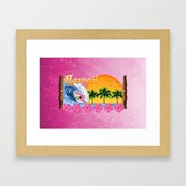 Pink Hawaiian Surfing Framed Art Print