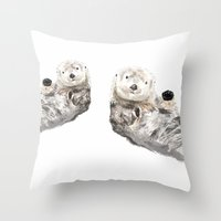 otters Throw Pillows featuring Sea Otters Watercolor Painting by Triple Studio