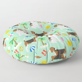 Beagle beach vacation dog breed lover beagles must haves summer gifts Floor Pillow