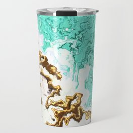 turquoise gold white abstract digital painting Travel Mug