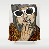 kurt vonnegut Shower Curtains featuring Illustrated Icons: Kurt by Heather Librizzi Illustration