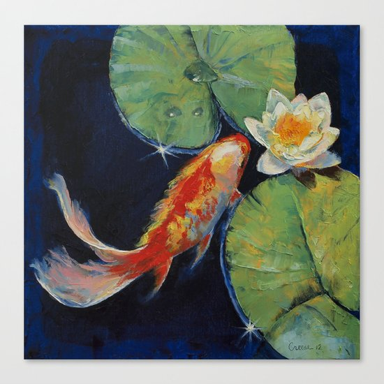 Koi and white lily canvas print by michael creese society6 for Koi canvas print
