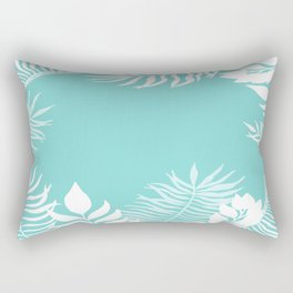 Tropical Leaves White Rainforest Palm Beach Cottage Decor Rectangular Pillow