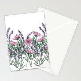 Pink and Lavender Floral Fields Stationery Cards