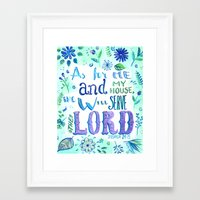 bible verse Framed Art Prints featuring Purple and Blue Bible Verse by SilviaGarciaArt