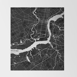Philadelphia - Black and Silver Throw Blanket