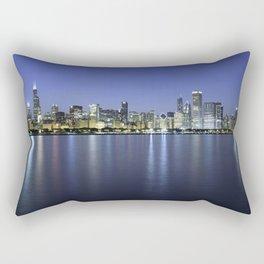 Chicago Skyline Dusk Panorama Rectangular Pillow