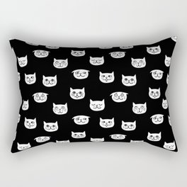 Cat heads drawing on black Rectangular Pillow