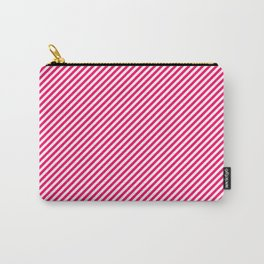 Mini Hot Neon Pink and White Candy Cane Stripes Carry-All Pouch
