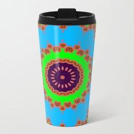Lovely Healing Mandalas in Brilliant Colors: Royal Blue, Green, Light Blue, Orange, Maroon and Pink Metal Travel Mug