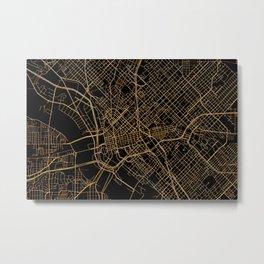Black and gold Dallas map Metal Print
