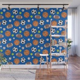 Sports Balls Pattern - Blue  Wall Mural