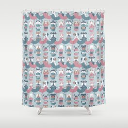 Knitting dog feelings I Shower Curtain
