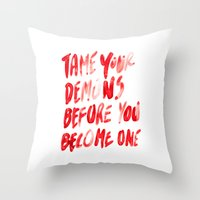 inner demons Throw Pillows featuring Demons by WRDBNR