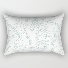 Round Eucalyptus Leaf Toss in White + Sage Rectangular Pillow