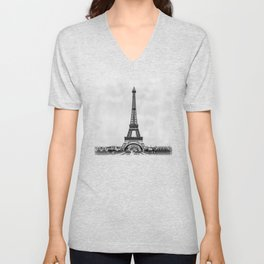 Eiffel tower in B&W with painterly effect Unisex V-Neck