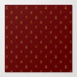 Gold and Red Polkadot Beetles Canvas Print