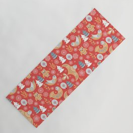 Fairy forest, deer, owls, foxes. Decorative pattern in Scandinavian style on a red background. Folk Yoga Mat