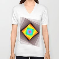 quilt V-neck T-shirts featuring Digital Quilt by Take F1ve