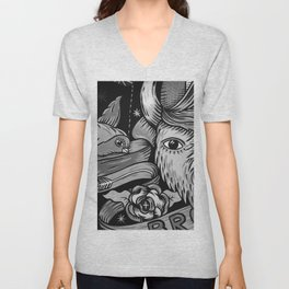 Yak and Bird Graffiti (Black and White) Unisex V-Neck