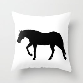 Stocky Warmblood Silhouette Throw Pillow
