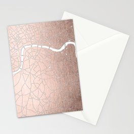 RoseGold on White London Street Map II Stationery Cards