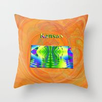 kansas Throw Pillows featuring Kansas Map by Roger Wedegis