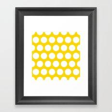 Big polka dots on gold color Framed Art Print