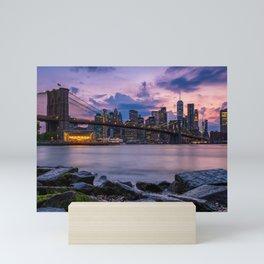Sunset at Pebble Beach DUMBO Brooklyn New York summer time 2019 Mini Art Print