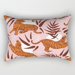 Vibrant Wilderness / Tigers on Pink Rectangular Pillow