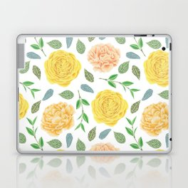 Hand painted yellow coral watercolor modern floral Laptop & iPad Skin