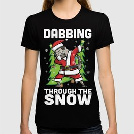 Irish Wolfhound Dabbing Through The Snow Christmas T-shirt