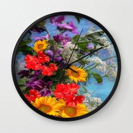 QUEEN ANN'S LACE GERANIUMS SUNFLOWERS BLUE STILL LIFE Wall Clock