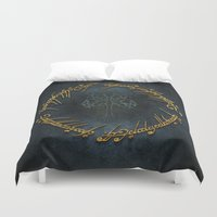 the lord of the rings Duvet Covers featuring The Lord Of The Rings Logo by Janismarika