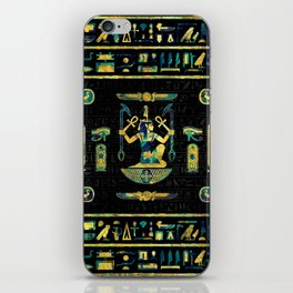 Egyptian  Gold and Blue Marble Ornament iPhone Skin