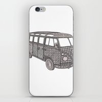 volkswagon iPhone & iPod Skins featuring Tangled VW Bus - side view by Cherry Creative Designs