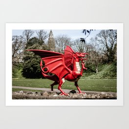 The Red Dragon Symbol of Wales at Cardiff Castle Art Print