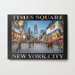 Times Square Sparkle (with type on black) Metal Print