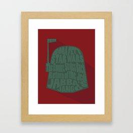 Boba Fett Typography Framed Art Print