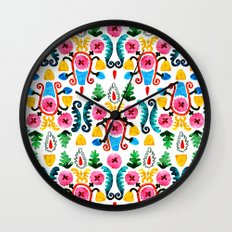 Colorful oriental watercolor floral pattern. Wall Clock