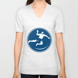 Handball Player Jumping Throwing Ball Icon Unisex V-Neck