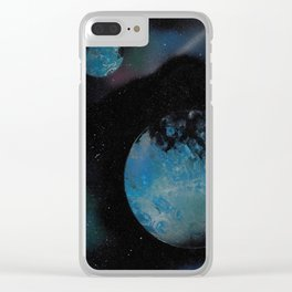 Planets with Space Station - Spray Paint Art Clear iPhone Case