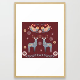 Nordic Winter Red Framed Art Print
