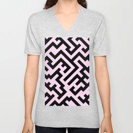 Black and Pink Lace Pink Diagonal Labyrinth Unisex V-Neck