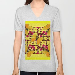 BUTTERFLIES & CLIMBING PINK & RED ROSES IN BUTTER YELLOW Unisex V-Neck