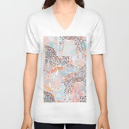 Colorful Wild Cats Unisex V-Neck