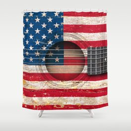 Old Vintage Acoustic Guitar with American Flag Shower Curtain