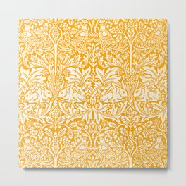 Birds and Rabbits in Marigold Sunshine Golden Yellow (William Morris 1882 Antique Vintage Pattern) Metal Print